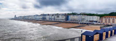 Panorama of Hastings Town coast line Royalty Free Stock Image