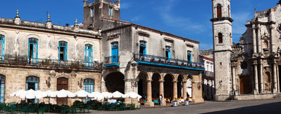 Panorama of Havana Cathedral Square Stock Images
