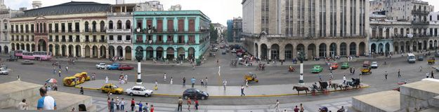 Panorama of Havana Cuba. A panoramic view of the streets of Havana, Cuba, taken from the steps of the Capitol royalty free stock image