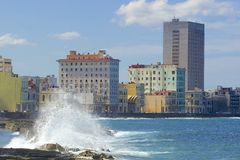 Panorama in Havana, Cuba, Caribbean. Malecon, high waves and panorama of Havana, Cuba Stock Images