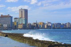 Panorama of Havana and Malecon, Cuba Stock Images