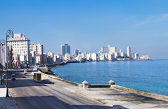 Panorama of Havana's famous embankment promenade. Royalty Free Stock Photos