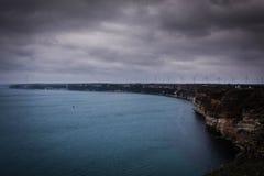 Panorama- havssikt på udde Kaliakra i bulgarisk sjösida Arkivfoton