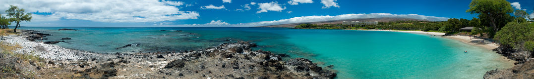 Panorama hawaïen de plage Photographie stock