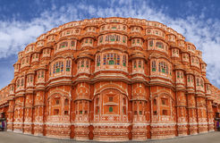 Panorama of Hawa Mahal Palace (Palace of Winds), famous landmark. Hawa Mahal is a beautiful palace in Jaipur (Pink City), Rajasthan, also known as Palace of Royalty Free Stock Images