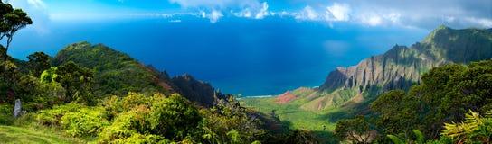 Panorama of Hawaiian Outlook in Kauai. Beautiful panoramic view looking out over the ocean in Kauai, Hawaii royalty free stock photography