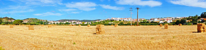 Panorama from hay bales in the fields near Aljezur Portugal. Panorama from hay bales in the fields near Aljezur in Portugal Royalty Free Stock Photo