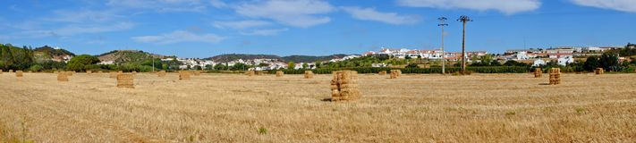 Panorama from haybales in Alentejo Portugal. Panorama from haybales in the fields in Alentejo Portugal Royalty Free Stock Image