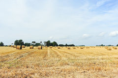 Panorama with haystack rolls on harvested field. In Normandy, France royalty free stock images