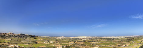 Panorama HDR photo of Malta landscape from the top of the historic city Mdina on sunny summer day.  Stock Image