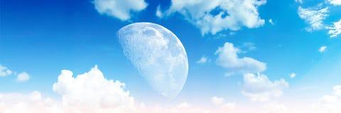 Panorama heap blue blur cloud sky half moon Stock Photography