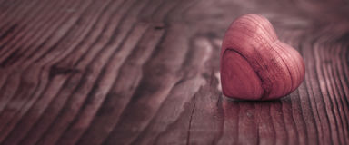 Panorama with heart on wood Royalty Free Stock Image