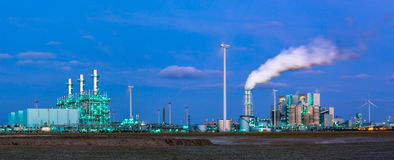 Panorama of heavy industry at dawn Royalty Free Stock Image
