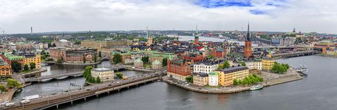 Panorama of Stockholm, Sweden. Panorama from height of bird's flight on observation deck on tower City Hall to Gamla Stan (Old Town), Stockholm, Sweden Royalty Free Stock Images