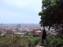 Barcelona city. Spain. City landscape and park views of the city. Panorama from the height of the park area of an infinitely large city, united royalty free stock photos