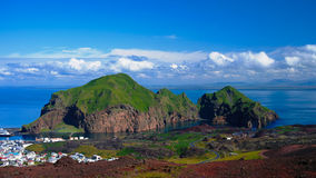 Panorama of Heimaey island and city, Vestmannaeyjar archipelago, Iceland Stock Photography