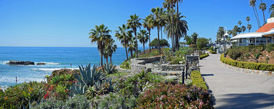 Panorama of Heisler Park walkway, Laguna Beach, California. The panorama image shows part of the Heisler Park walkway, Laguna Beach, California. Situated on a royalty free stock images