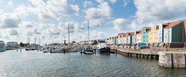 Panorama Hellevoetsluis, Nederländerna royaltyfri fotografi