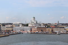 The panorama of the Helsinki city. Helsinki Cathedral. Stock Photography