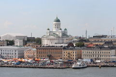 The panorama of the Helsinki city. Helsinki Cathedral. Royalty Free Stock Image