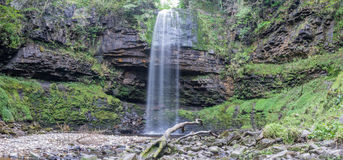 Panorama of Henrhyd Falls on the Nant Lech river, Brecon Beacons Stock Image