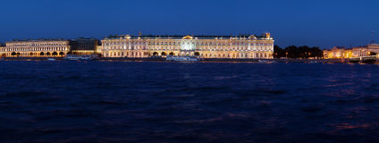 Panorama of Hermitage at Evening, Saint Petersburg Royalty Free Stock Images