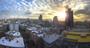 Panorama hermoso de Ankara en Turquía con puesta del sol Imágenes de archivo libres de regalías