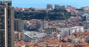 Panorama hermoso de la visión aérea de Mónaco Monte-Carlo Cityscape almacen de metraje de vídeo