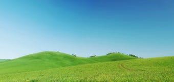 Panorama hermoso del verano con las colinas verdes y el cielo azul Fotografía de archivo libre de regalías