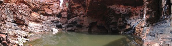 Panorama - het Nationale Park van Karijini, Westelijk Australië Royalty-vrije Stock Foto's