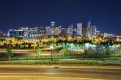Panorama het van de binnenstad van Denver, Colorado Stock Foto's