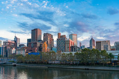 Panorama het van de binnenstad van Melbourne in de ochtend Stock Foto