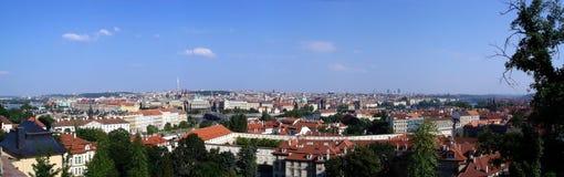 panorama häftade prague Arkivfoto
