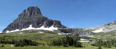 Panorama of The Hidden Lake Trail, Glacier N P Royalty Free Stock Images