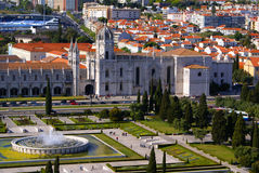 Panorama of Hieronymites Monastery is located in the Belem distr Royalty Free Stock Image