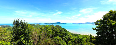 Panorama High angle view sea sky and seaside tourist town Stock Photos