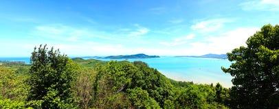 Panorama High angle view sea sky and seaside tourist town Stock Photos