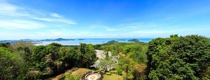 Panorama High angle view sea sky and seaside tourist town Royalty Free Stock Photos