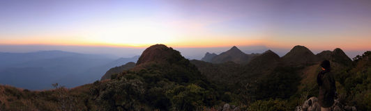 Panorama of high mountain in sunset time Royalty Free Stock Photography