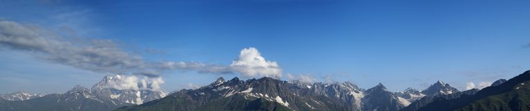Panorama of high mountains in nice day Stock Photo
