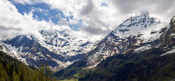 A panorama of high mountains Royalty Free Stock Image