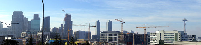 Panorama,  high rise construction cranes Royalty Free Stock Photography