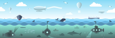 Panorama of the high seas royalty free illustration
