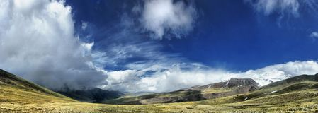 Panorama of high sky with clouds in mountains Stock Photography