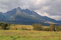 Panorama of the High Tatras Mountains, Slovakia. Panorama of the High Tatras Mountains, view of forest, Slovakia stock images