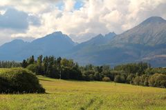 Panorama of the High Tatras Mountains, Slovakia. Panorama of the High Tatras Mountains, view of forest, Slovakia royalty free stock photos