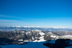 Panorama of High Tatras, view from Chopok mountain, Jasna, Low T stock images