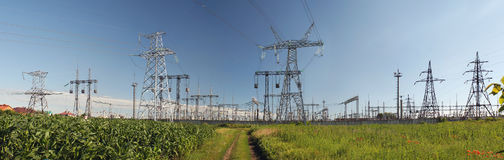 Panorama of high voltage substation. Distribution electrical pow Stock Photos
