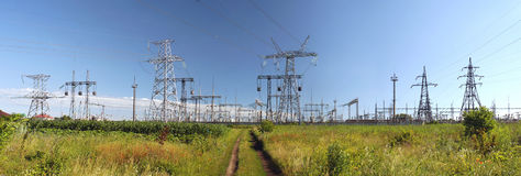 Panorama of high voltage substation. Distribution electrical pow Royalty Free Stock Photo