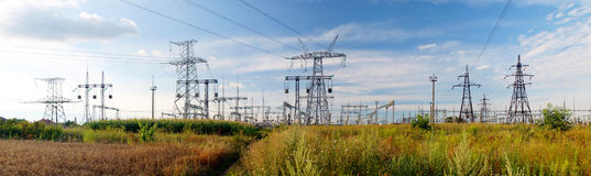 Panorama of high voltage substation. Distribution electrical pow Royalty Free Stock Photos